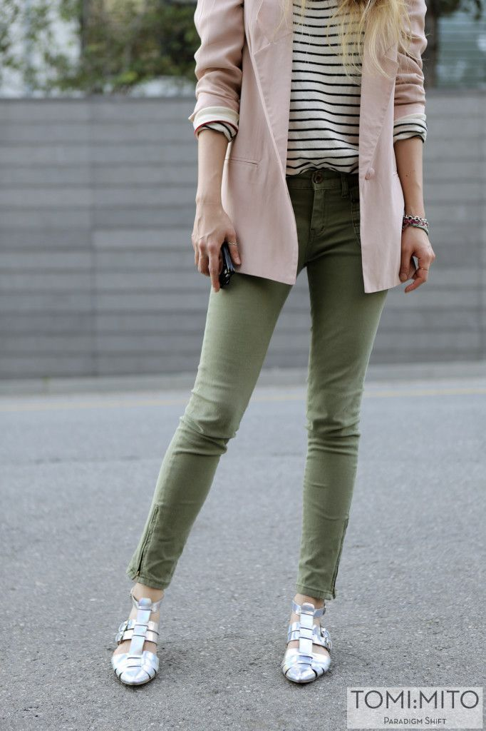 Shop this look on Lookastic:  http://lookastic.com/women/looks/white-and-black-longsleeve-shirt-and-pink-blazer-and-olive-skinny-jeans-and-silver-heels/992  — White and Black Horizontal Striped Long Sleeve T-shirt  — Pink Blazer  — Olive Skinny Jeans  — Silver Pumps