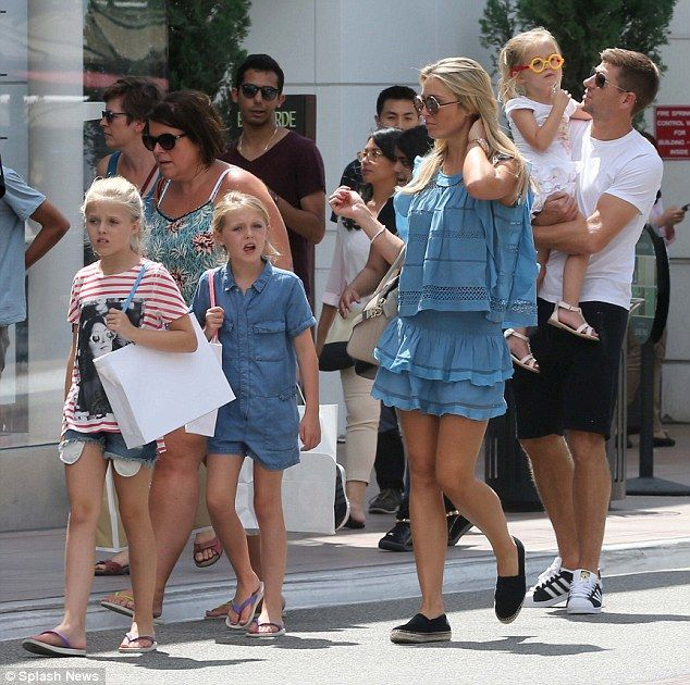 Family outing: Alex and Steven Gerrard were joined by their three daughters Lilly-Ella, 11...