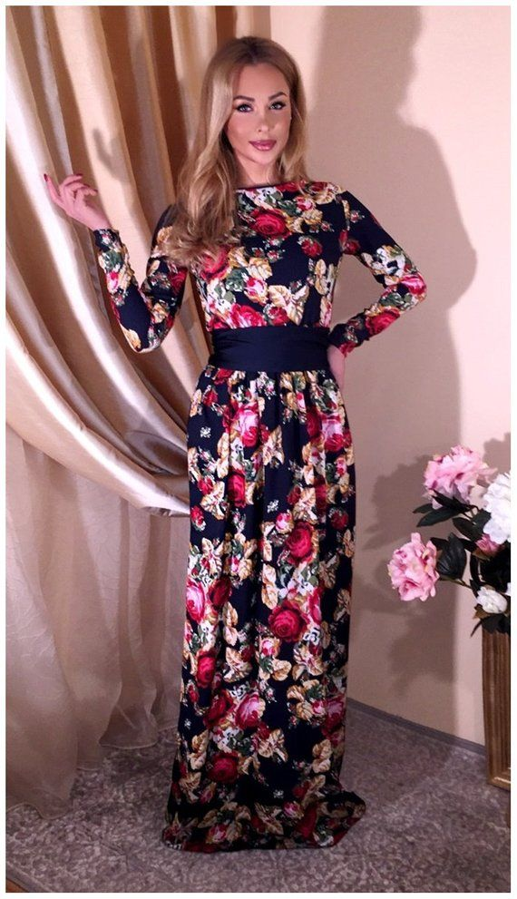 e8a35f6465 Navy Blue With Roses  Round Neck Maxi Dress With Long Sleeves ...