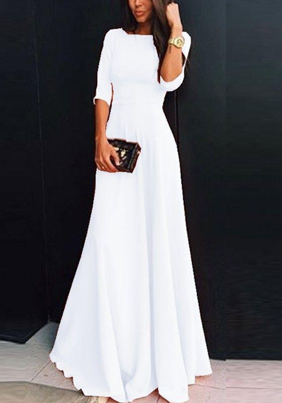 c1bf7ec5d6b White Plain Draped Round Neck Three Quarter Length Sleeve Elegant Maxi Dress