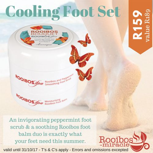 Cooling Foot Set 2 x 100ml An invigorating peppermint foot scrub and a soothing Rooibos foot balm duo is exactly what your feet need this summer #octoberspecials #annique #rooibosmiracle