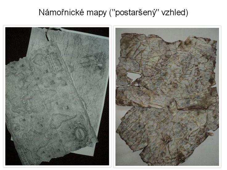 """Námořnické mapy - dosažení """"postaršeného"""" vzhledu mačkáním a trháním papíru, louhováním v čaji a barevnými razítkovacími polštářky"""