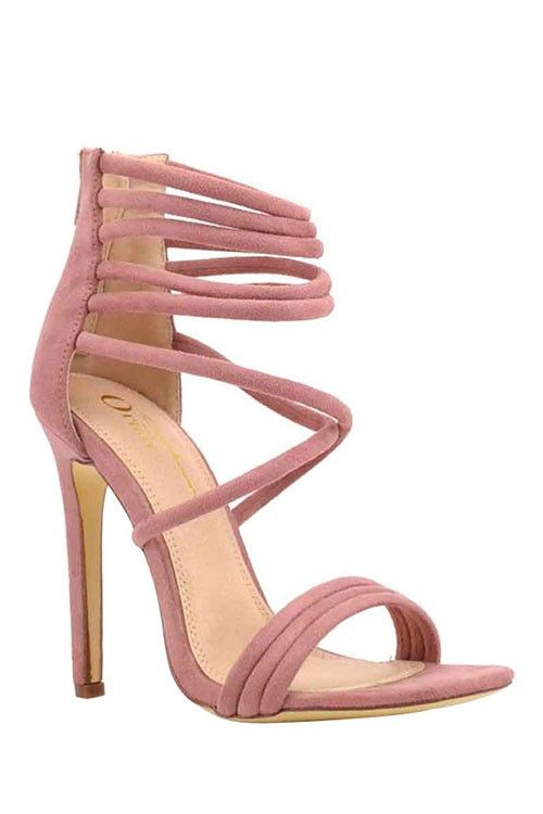 """Beautiful strappy ankle sandal heels in a feminine rose blush color. - 4.5"""" heel. - Zipper in the back. - Vegan suede. - Comfortable cushioned sole."""