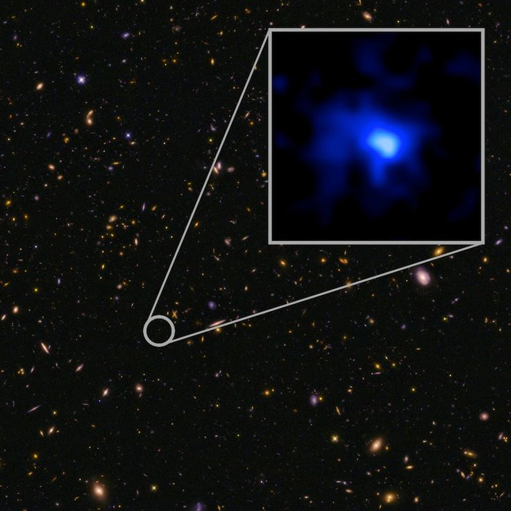 The farthest confirmed galaxy to date, EGS-zs8-1, imaged here by the Hubble Space Telescope. New measurements taken at the W. M. Keck Observatory show that the galaxy lies about 13.1 billion light years from Earth.