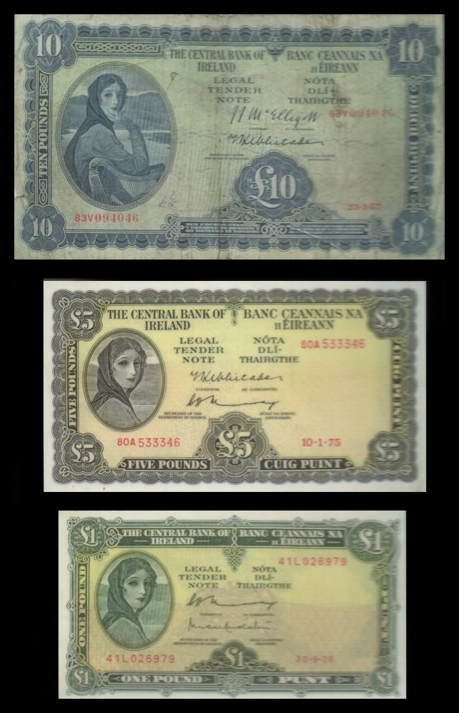 """The """"Lady Lavery"""" series of the old Irish banknotes. This personification of Ireland modelled on Lady Lavery and painted by her husband was reproduced on banknotes of the Republic of Ireland from 1928 until the 1970s. It then appeared as a watermark on Series B and C notes until the latter were replaced by the euro in 2002."""