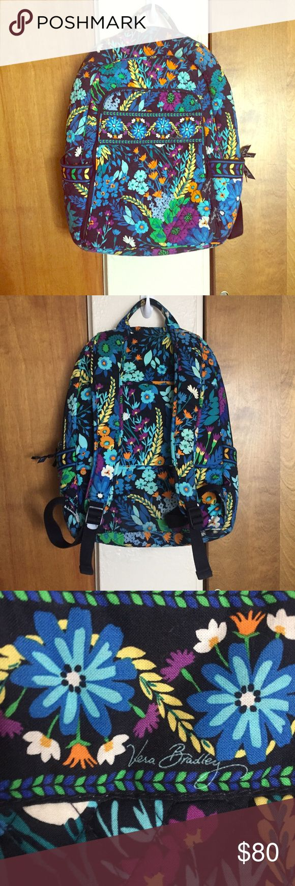 Vera Bradley blue floral extra large backpack Extra large perfect Vera Bradley electric blue floral backpack! So many pockets, large pockets, suitcase bar, side pockets. For the hippie gypsy hiker free people urban outfitters Mary Kay Michael kors coach nasty gal festival gypsy dolls kill unif Betsy Johnson novella royale liberated heart Arnhem Vera Bradley Bags Backpacks