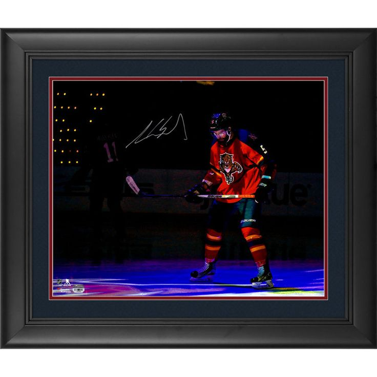 """Aaron Ekblad Florida Panthers Fanatics Authentic Framed Autographed 16"""" x 20"""" Red Jersey In Spotlight Photograph"""