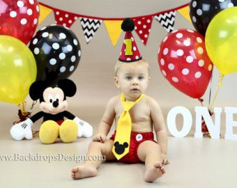 Birthday outfit and banner photography prop Cake smash boy outfit Mickey Mouse first Birthday boy outfit