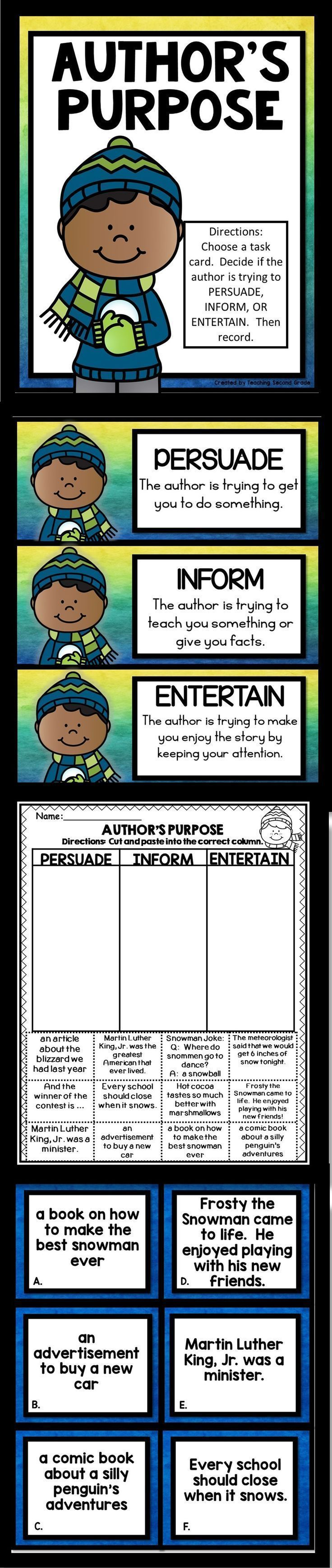 Author 39 S Purpose Cut And Paste Literacy Centers And Purpose