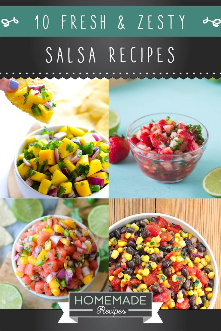 We've got a list of 10 fresh, zesty and mouth-watering salsa recipes you'll totally be addicted to!   10 Fresh And Zesty Salsa Recipes Salsa can be traced back to the Aztecs, Mayans and Incas, where cooked tomatoes, chili peppers, garlic and onions where mashed together using a mortar and pestle, a tool which indigenous tribes and