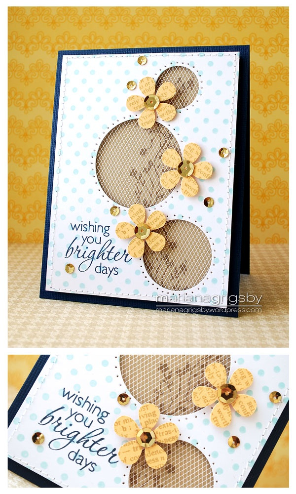 pretty card...luv the use of tulle ribbon over the stamped kraft paper behind the negative circle die cuts...