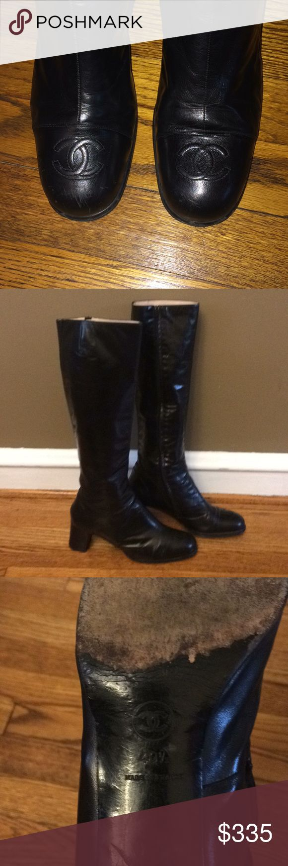 AUTHENTIC CHANEL💕 black leather boots Beautiful, classic black leather Chanel knee boots. Double C's on toe. Not for those with a wide calf. Worn, but with a lot of life remaining. Heels have some scratches- shown in pics. Price reflects wear. CHANEL Shoes Heeled Boots