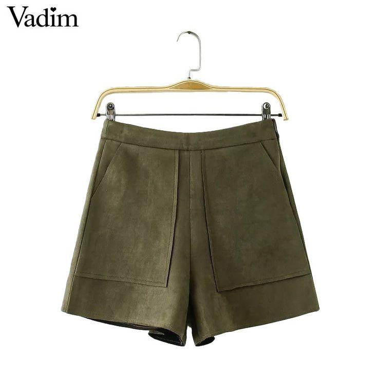 Women basic solid suede shorts zipper pockets design ladies fashion streetwear brand casual shorts pantalones cortos mujer
