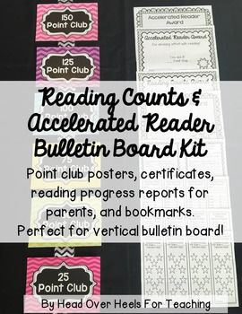 Get your students excited about reading with this Reading Counts and Accelerated Reader Kit! Posters, certificates, progress reports, and bookmarks! This colorful chevron design will brighten any room! Perfect for vertical bulletin board for the class with limited space (hang on ribbon or