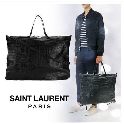 ●2017●Saint Laurent クロコ 2WAY 65×46 トートバッグ 大 サンローラン 2017 ファッション