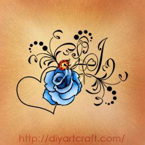#monogram LJ blu rose #tattoo #ladybug