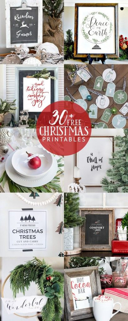 30+ gorgeous FREE Christmas Printables!  Signs, chalkboards, gift tags, labels, place cards, and more... All you need to decorate for Christmas affordably.