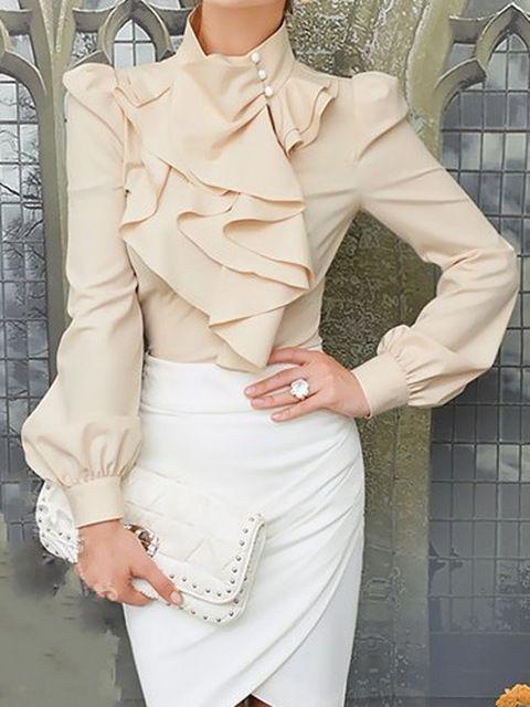 Бежевый длинный рукав фонарик черепаха шеи рюшами спереди тонкий свободного покроя блузка 2015 весной новые женщины мода
