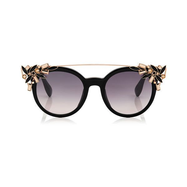 Black Round Framed Sunglasses with Detachable Jewel Clip On VIVY ($530) ❤ liked on Polyvore featuring accessories, eyewear, sunglasses, round acetate sunglasses, rounded sunglasses, acetate glasses, jimmy choo eyewear and round sunglasses