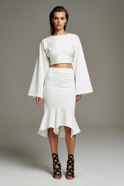 Look with bell sleeve shirt and trumpet skirt                                                                                                                                                                                 More