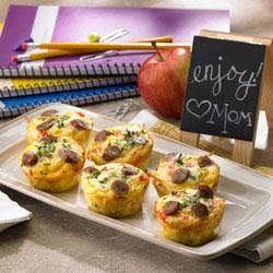 Amazing Muffin Cups ~ Eggs, sausage, red bell pepper, and cheese are baked in hash brown potato 'cups' for a delicious breakfast that will feed a crowd.