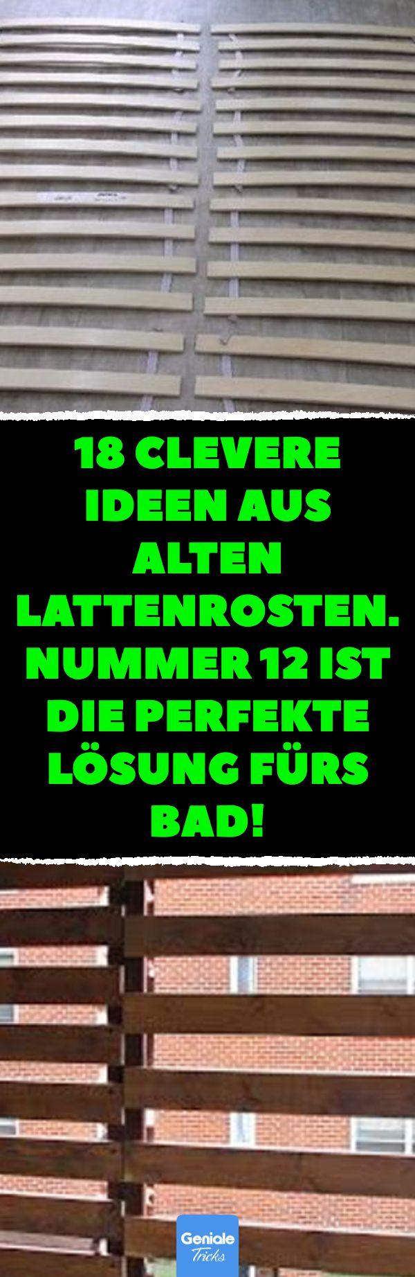 18 clevere Ideen aus alten Lattenrosten. Nummer 12 ist die perfekte Lösung fürs Bad! 18 Upcycling-Ideen mit Lattenrosten. #Upcycling #Ideen #Lattenr…