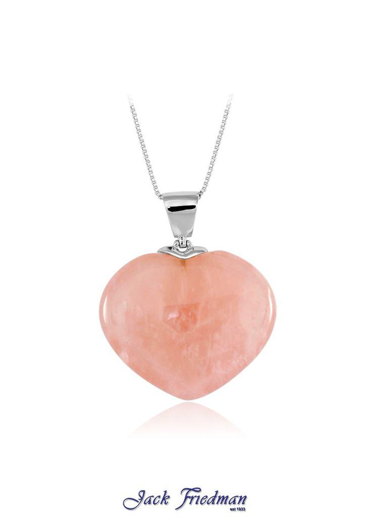 Rose quartz heart pendant set in silver jackfriedman.co.za