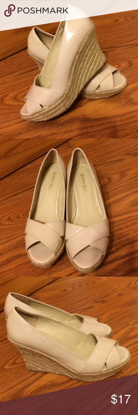 Nude Espadrille Wedges Barely work. Nude paten upper with jote rope accent on wedges. Good condition. Some surface fuzz on jote rope with is typical. Bottom of soles in like new condition. Reasonable offers welcome. St. John's Bay Shoes Espadrilles