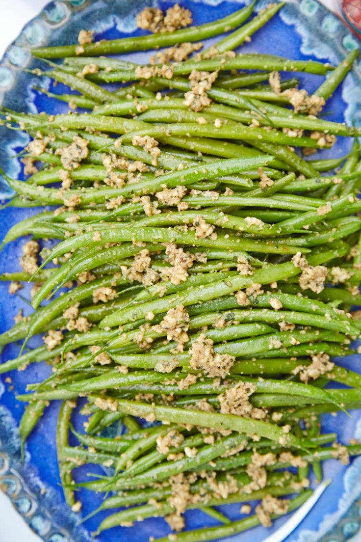 Green Beans with Walnut and Green Olive Tapenade.