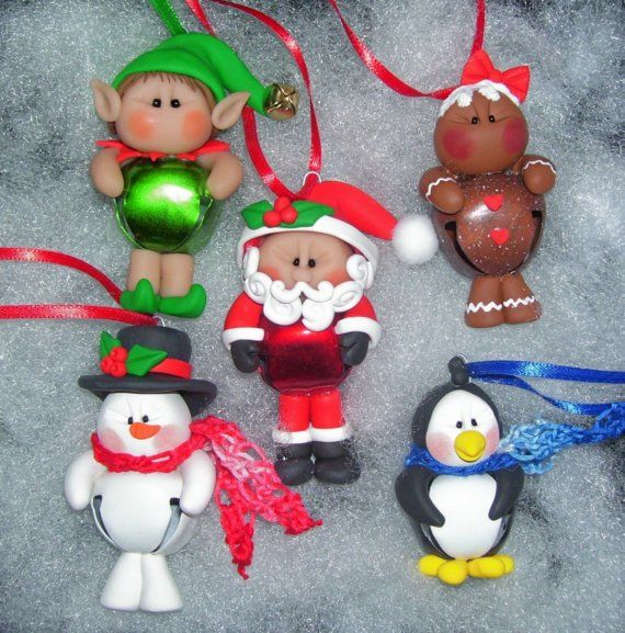 Snowman jingle bell buddy polymer clay christmas ornament