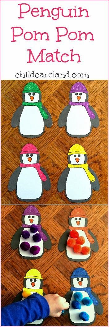 Penguin Pom Pom Match ... I made this to work on fine motor ... color recognition and math skills.