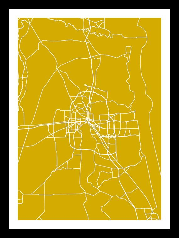Jacksonville Map Print Map Art Jacksonville Art от Artvintagedecor