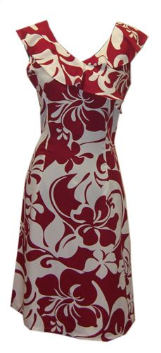 Hawaiian Hoku Red Island Dress, Jade Fashion - Aloha Wear Clothing Store