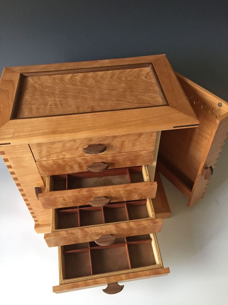 This One Of A Kind Standing Jewelry Box Of African Bubinga