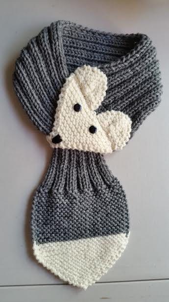 Regolabile Fox sciarpa per bambini grigio a mano di QuiltNCrochet