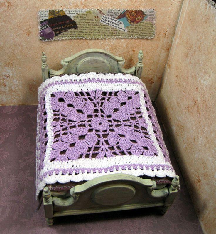 Miniature hand crochet bedspread bold openwork purple lavender hand made OOAK