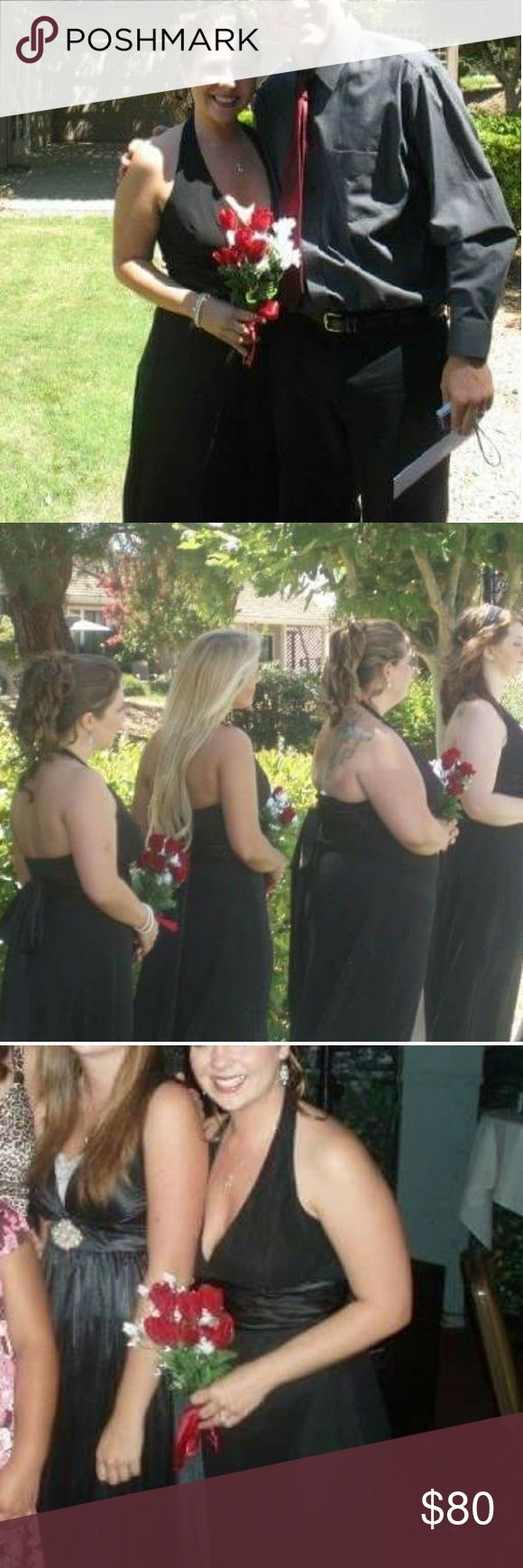 Black Floor Length Halter Chiffon Bridesmaid dress Beautiful floor length chiffon halter dress features satin accent below bodice that ties in the back. Worn once for a short wedding ceremony and photos. Excellent condition, like new. **Comes from a smoke-free home** jcpenney Dresses Maxi