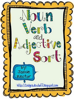 This is a FREE Noun, Verb, and Adjective center activity with a sorting mat, 24 word cards, and a recording sheet. Cute!