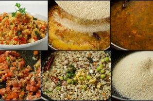"Upma is popular breakfast or ""tiffin"" dish in South India. It is easy to make and quite filling. It basically consists of roasted semolina boiled in water that has been seasoned till it is solid. Upma has many forms: simple upma or then upma with vegetables such as carrots and peas, or then upma with tomato. The tang from the...  Read More"