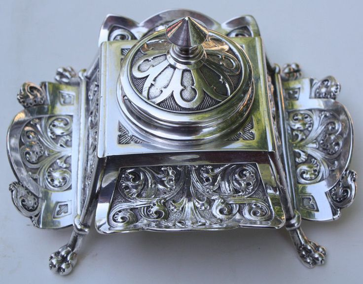 Antique Art Nouveau Silver Plate Inkstand / Inkwell Claw Feet w/ Embossed design