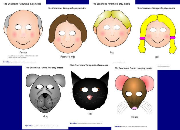 The Enormous Turnip role-play masks (SB1835) - SparkleBox