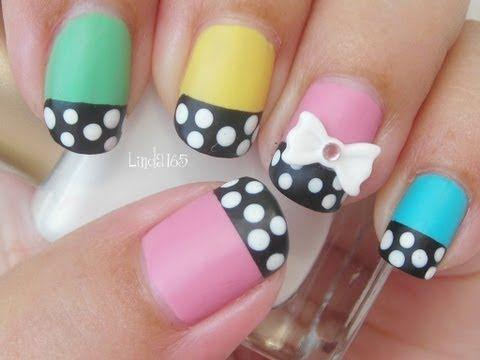 Wouldn't do the bow, but super cute :) Nail Art - Dolly Wink Nail Polish Inspired