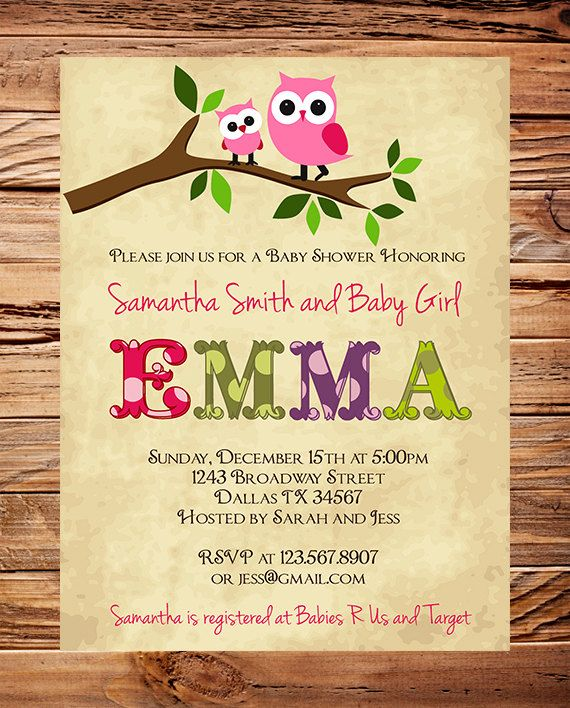 Owl Baby Shower Invitation, Baby Shower Invite, Girl, Whimsical, Pink, Baby shower boy Owl. $23.00, via Etsy.
