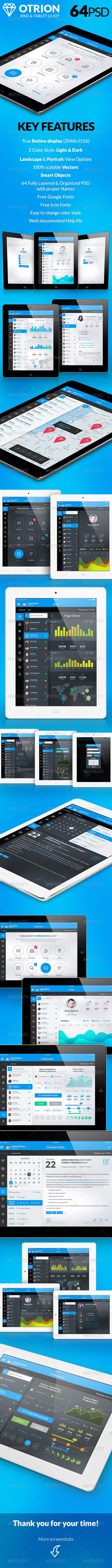 Otrion - iPad & Tablet App Design UI Kit