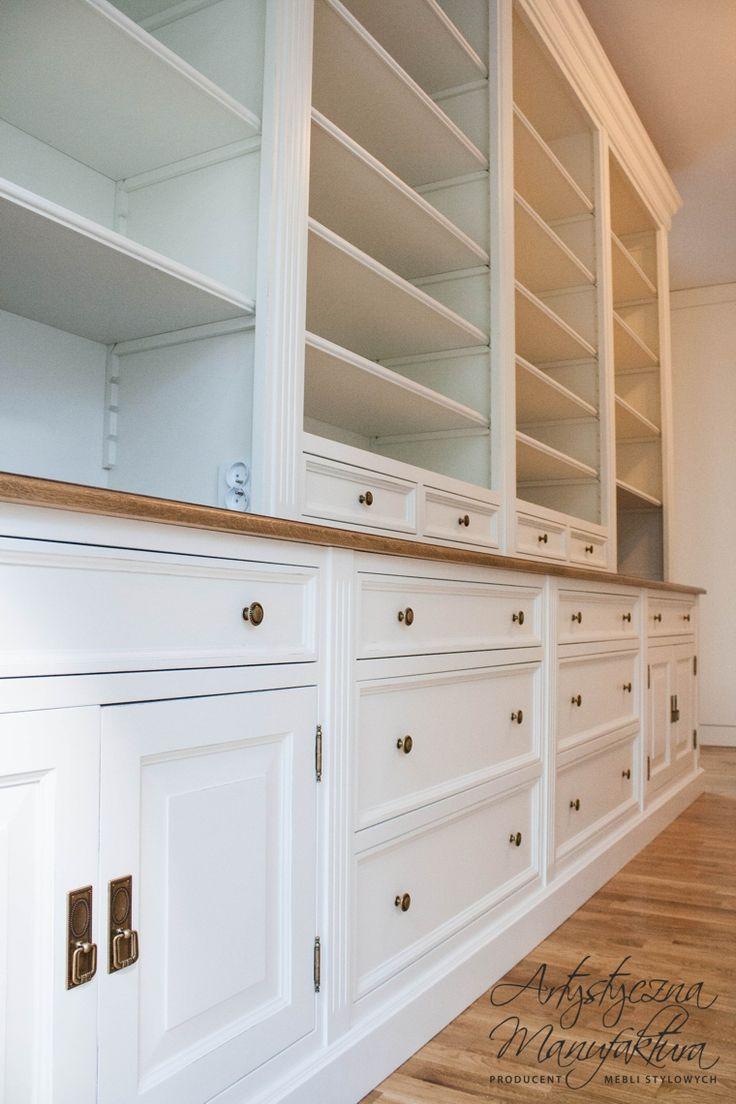olchowa biblioteka stylowa, white traditional bookcases, home office, custom hand painted furniture
