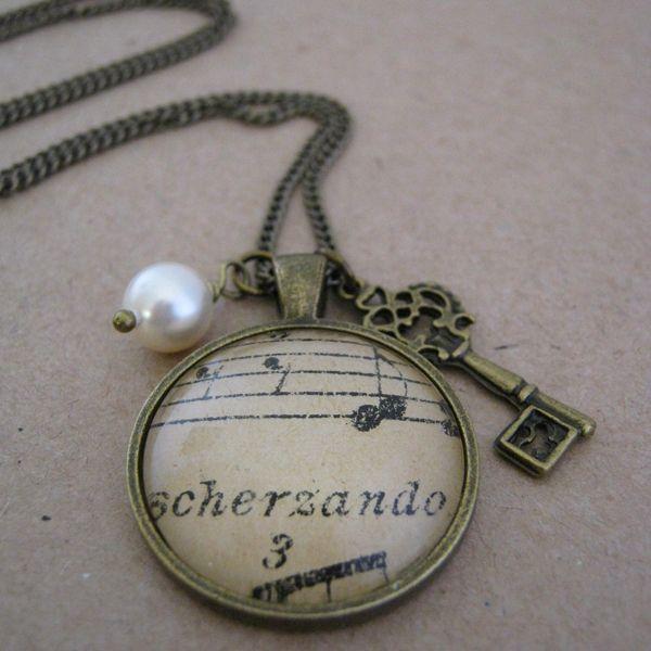 """""""Scherzando"""" - Vintage Music Charm Necklace - On A Whim Designs"""