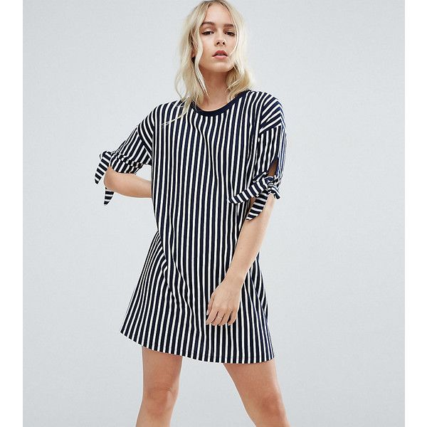 ASOS PETITE T-Shirt Dress in Stripe with Bow Sleeve (920 DOP) ❤ liked on Polyvore featuring dresses, multi, petite, short dresses, stripe dresses, stripe t shirt dress, petite t shirt dress and striped tee shirt dress