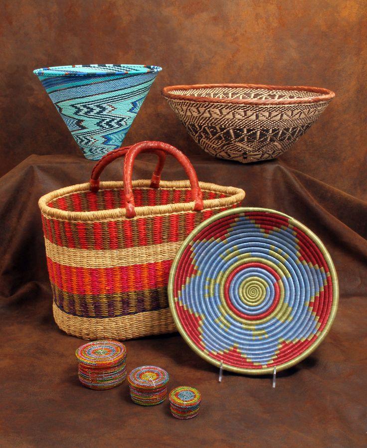 Baskets Of Africa Top Left: Zulu Wire Funnel; Top Right: Zimbabwe Binga Bowl