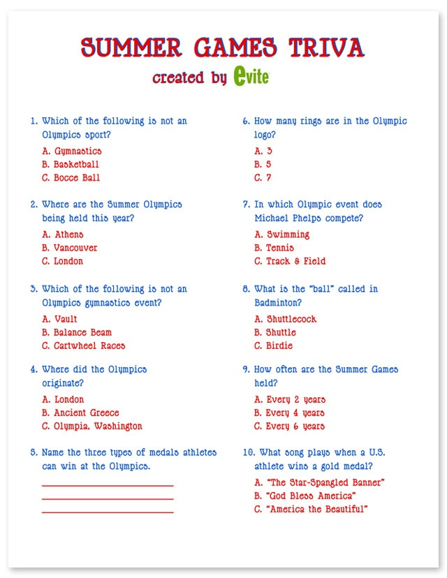 Olympic Printables - Summer Games Trivia