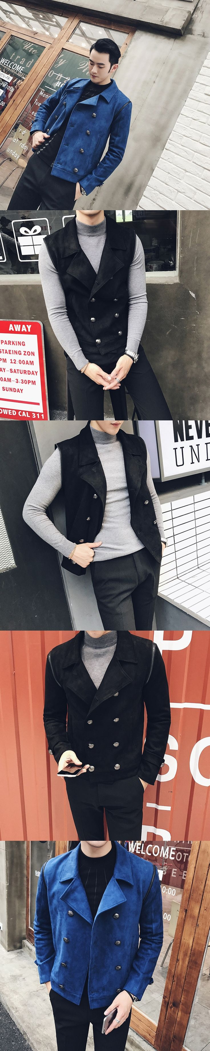 2017 Royal Blue Jackets Mens Double Breasted Jackets Mens Bomber Jackets Deerskin Black Two Pcs Blazers Winter Thick Jaqueta